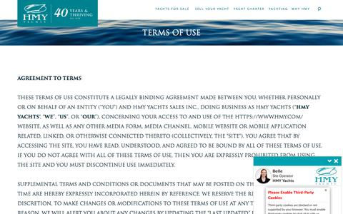 Screenshot of Terms Page hmy.com - Terms of Use   HMY Yachts - captured Nov. 27, 2019