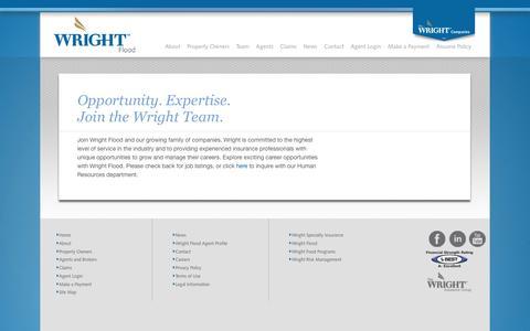 Screenshot of Jobs Page wrightflood.com - Wright Flood - Careers - captured Aug. 14, 2016