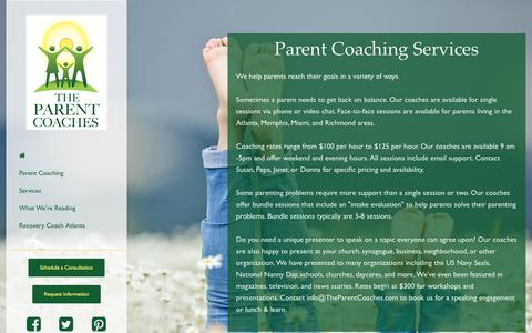 Screenshot of Services Page parentcoachatlanta.com - Parent Coaching Services | Parent Coach Speaker - captured May 14, 2017