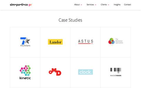 Screenshot of Case Studies Page simpaticopr.co.uk - Case Studies   Simpatico PR - captured Nov. 19, 2016