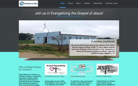 Screenshot of Home Page globalmissionforchildren.org - Global Mission for Children - captured Sept. 30, 2014