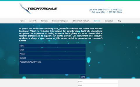 Screenshot of Jobs Page ttrials.com - Techtrials - Contract Research Organization | Careers - captured Nov. 5, 2017