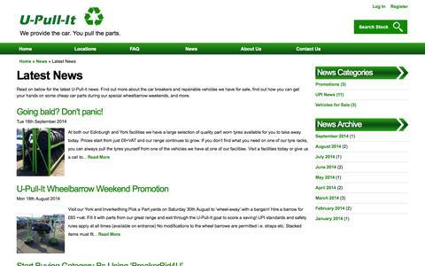 Screenshot of Press Page u-pull-it.co.uk - Latest News | U-Pull-It Breakers Yards - captured Oct. 3, 2014