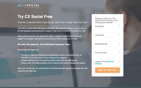 Screenshot of Trial Page clarabridge.com - 14 Day Free Trial - (New July 2017) - CX Social - captured July 9, 2017