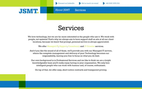 Screenshot of Services Page jsmt.co.uk - Services - Consultancy, Support, IT Director - captured Sept. 30, 2014