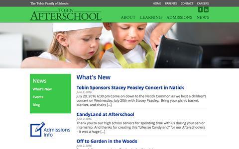 Screenshot of Press Page tobinafterschool.org - What's New - Tobin Afterschool - captured Aug. 16, 2016