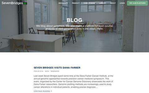 Screenshot of Blog sbgenomics.com - Seven Bridges - We build self-improving systems to analyze millions of genomes - captured Feb. 14, 2016