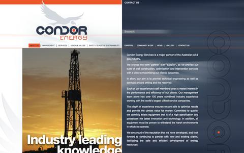 Screenshot of About Page condorenergy.com.au - About Us | Condor Energy - captured Oct. 2, 2014