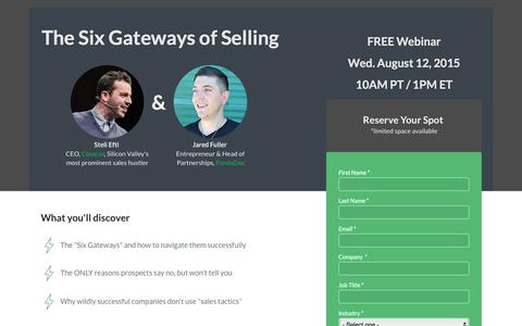 Screenshot of Landing Page pandadoc.com - Attend the webinar, The Six Gateways of Selling - captured Aug. 19, 2016