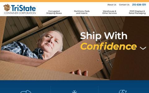 Screenshot of Home Page tristatecontainer.com - Home » TriState Container Corporation - captured Oct. 20, 2018