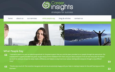 Screenshot of Testimonials Page careerinsights.co.nz - Testimonials and What People Say about Career Insights - captured Jan. 25, 2016