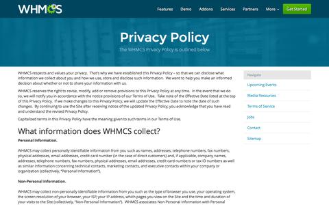 Screenshot of Privacy Page whmcs.com - Privacy Policy | WHMCS - captured Dec. 2, 2015