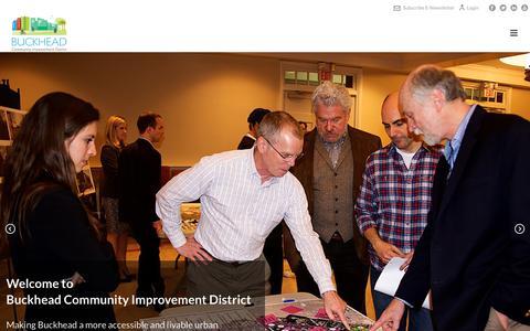 Screenshot of Home Page buckheadcid.com - Buckhead Community Improvement District | Community Planning | Atlanta GA - captured Oct. 6, 2018