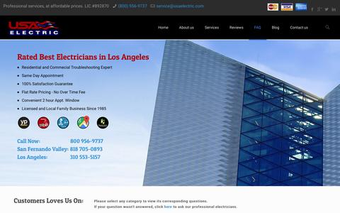 Screenshot of FAQ Page usaelectric.com - FAQ   Los Angeles Electrician � USA Electric, Licensed Electricians on Every Call. - captured Jan. 10, 2016