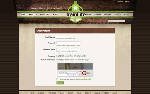 Screenshot of Signup Page trainlife.com - TrainLife - Sign-up - captured Oct. 7, 2014
