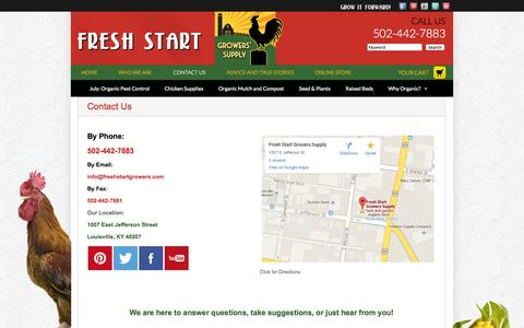 Screenshot of Contact Page freshstartgrowers.com - Contact Us | Fresh Start Growers - captured Oct. 6, 2014