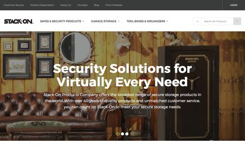 Screenshot of Home Page stack-on.com - Stack-On Products – Safes, Gun Safes, Garage Storage and Organization Solutions - captured Oct. 14, 2017