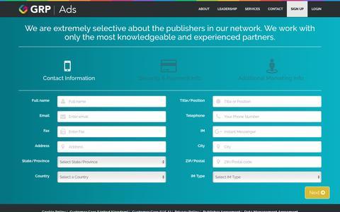 Screenshot of Signup Page grpads.com - Global Response Partners - captured Nov. 9, 2016