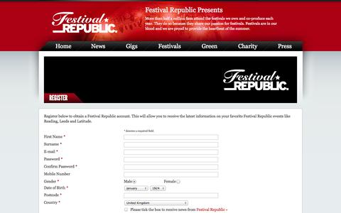 Screenshot of Signup Page festivalrepublic.com - Newsletter - Festival Republic - captured Sept. 23, 2014