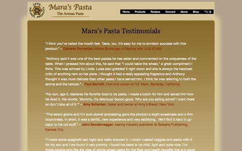 Screenshot of Testimonials Page maraspasta.com - » Testimonials : Mara's Pasta – The Artisan Pasta - captured Oct. 27, 2014