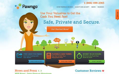 Screenshot of Home Page pawngo.com - Online Pawn Shop - Loans | Pawngo Official Site - captured July 11, 2014