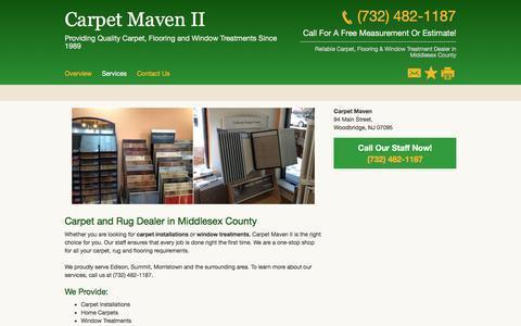 Screenshot of Services Page carpetmaven.net - Carpet and Rug Dealers - Carpet Maven II- Metuchen - NJ - captured Jan. 30, 2017