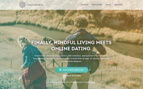 Screenshot of Home Page meetmindful.com - Finally, mindful living meets online dating. - MeetMindful | A Fuller Life Together - captured Dec. 10, 2018