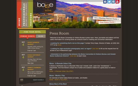 Screenshot of Press Page boise.org - Boise Convention & Visitors Bureau ::  press room - captured Oct. 5, 2014