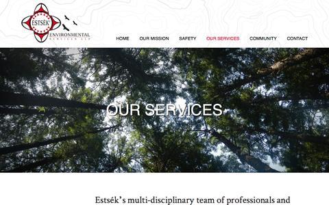 Screenshot of Services Page estsek.com - Our Services | Estsék' Environmental Services LLP - captured Jan. 30, 2016