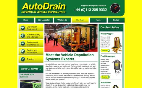 Screenshot of Team Page autodrain.net - Meet the Vehicle Depollution Systems Experts - captured Oct. 4, 2014