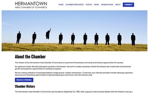 Screenshot of About Page hermantownchamber.com - About - captured Nov. 7, 2016