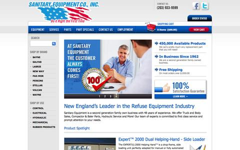 Screenshot of Home Page sanitaryequipment.com - New England's Leader in the Refuse Equipment Industry - captured Feb. 4, 2016