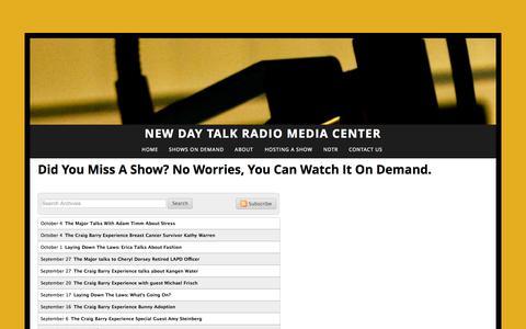 Screenshot of Testimonials Page newdaytalkradio.com - Shows On Demand — New Day Talk Radio Media Center - captured Oct. 7, 2014