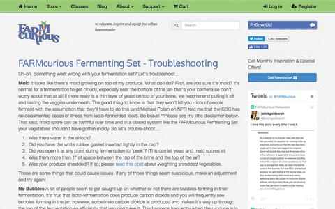 Screenshot of Support Page farmcurious.com - FARMcurious Fermenting Set - Troubleshooting - captured June 5, 2017