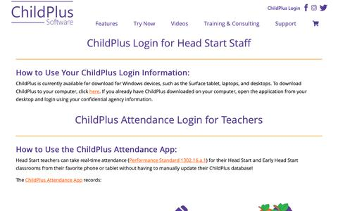 Screenshot of Login Page childplus.com - ChildPlus Login – ChildPlus – Professional Head Start Management Software - captured Oct. 25, 2018