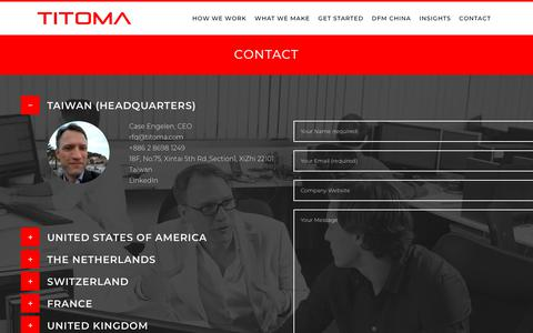 Screenshot of Contact Page titoma.com - Contact | Titoma - captured Oct. 19, 2018