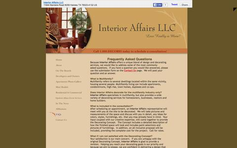 Screenshot of FAQ Page interioraffairssa.com - Interior Affairs LLC - FAQs - captured Feb. 11, 2016