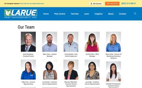 Screenshot of Team Page laruepest.com - Larue Pest Management, Inc. says... - captured Sept. 27, 2018