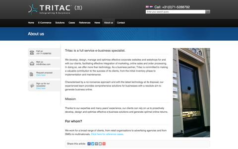 Screenshot of About Page tritac.com - E-Commerce & Webshop specialist Tritac - captured July 16, 2016