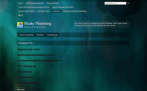 Screenshot of Contact Page wordpress.com - Contact Us | Husky Plumbing - captured Sept. 12, 2014