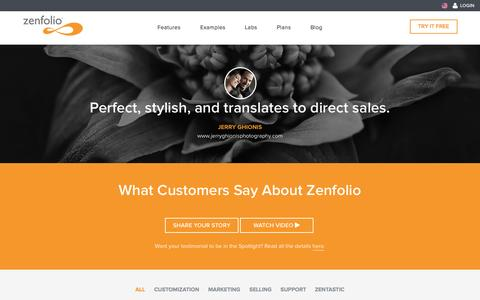 Screenshot of Testimonials Page zenfolio.com - Testimonials - Zenfolio - captured Oct. 26, 2015