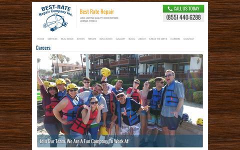Screenshot of Jobs Page best-rate-repair.com - Careers | Best Rate Repair & Construction in San Diego. Wood Repair, Patio & Deck Construction, Structural Damage Repair - captured Feb. 7, 2016