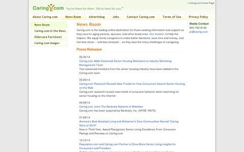 Screenshot of Press Page caring.com - News Room | Caring.com - captured July 19, 2014