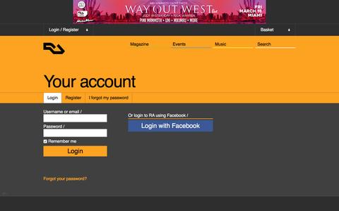 Screenshot of Login Page residentadvisor.net - RA: Login - captured Feb. 11, 2016