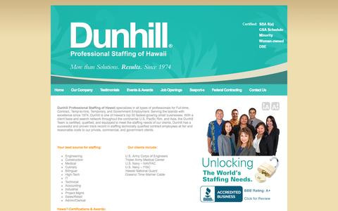 Screenshot of Home Page Site Map Page dunhillhawaii.com - Dunhill Hawaii   Dunhill Professional Staffing of Hawaii   Seaport-e Compliance Website - captured Oct. 5, 2014