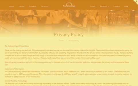 Screenshot of Privacy Page theashramyoga.com - Privacy Policy | The Ashram Yoga - captured July 8, 2016