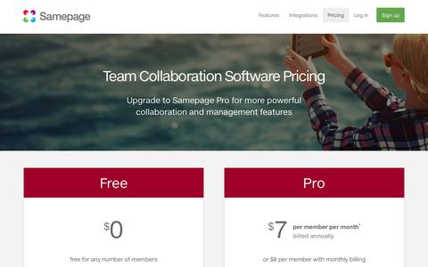 Screenshot of Pricing Page samepage.io - Team Collaboration Software Pricing | Management Features and Cost - captured May 28, 2017