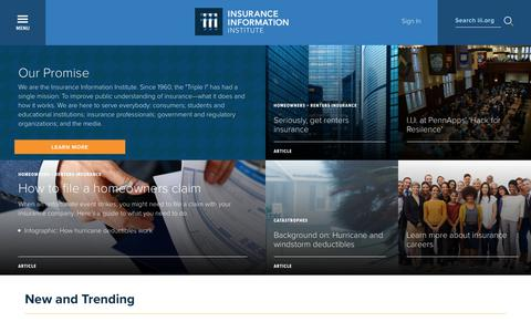 Screenshot of Home Page iii.org - III | Improving public understanding of insurance-what it does and how it works - captured Sept. 25, 2018