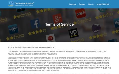 Screenshot of Terms Page thereviewsolution.com - Online Reviews - The Review Solution - Real Customers. Real Reviews. Real Easy. - captured Dec. 22, 2016