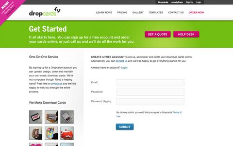 Screenshot of Signup Page dropcards.com - Sign Up For a Free Account    Dropcards : The Industry Leader In Custom Music Download Cards - captured Sept. 19, 2014